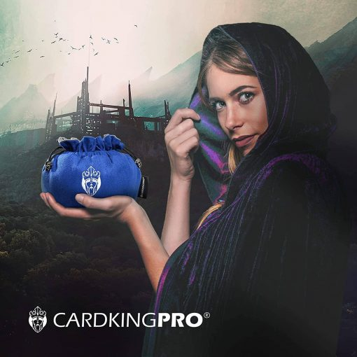 Cloaked lady holding a blue Cardkingpro dice bag
