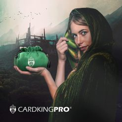 Cloaked lady holding a green Cardkingpro dice bag