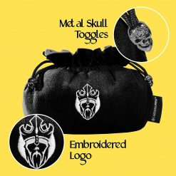 Cardkingpro Immense Dice Bags with Pockets Black Skull & Embroidered King logo Close Up