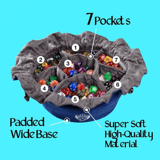 Cardkingpro Immense Dice Bags with Seven 7 Pockets Blue