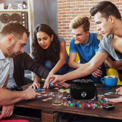 Five People Playing D&D using Cardkingpro Immense Dice Bags – Black - Pallet Table