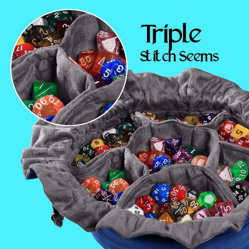 Cardkingpro Immense Dice Bags with Pockets – Blue - Showing Dice