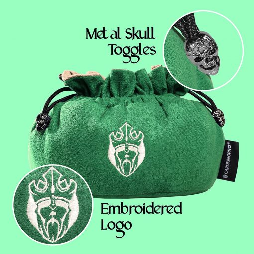 Cardkingpro Immense Dice Bags with Pockets Green Skull & Embroidered King logo Close Up