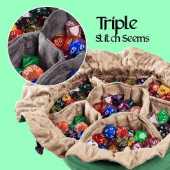 Cardkingpro Immense Dice Bags with Pockets – Green - Showing Dice