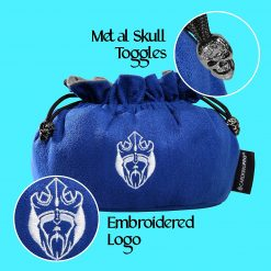 Cardkingpro Immense Dice Bags with Pockets Blue Skull & Embroidered King logo Close Up