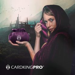 Cloaked lady holding a purple Cardkingpro dice bag