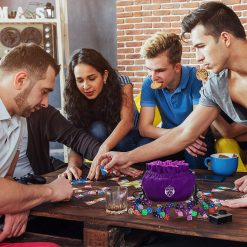 Five People Playing D&D using Cardkingpro Immense Dice Bags – Purple - Pallet Table