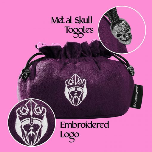 Cardkingpro Immense Dice Bags with Pockets Purple Skull & Embroidered King logo Close Up