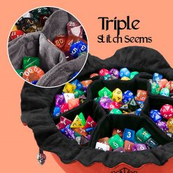 Immense Dice Bags with Pockets – Burnt Orange - Showing Dice