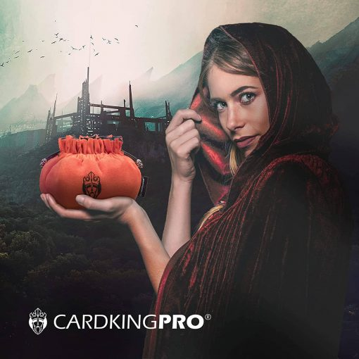 Cloaked lady holding a orange Cardkingpro dice bag