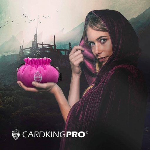 Cloaked lady holding a pink Cardkingpro dice bag
