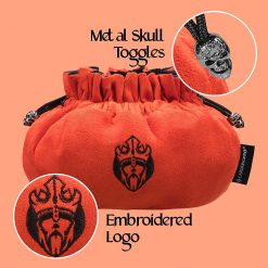 Immense Dice Bags with Pockets Burnt Orange Skull & Embroidered King logo Close Up