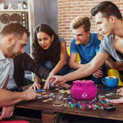 Five People Playing D&D using Cardkingpro Immense Dice Bags – Pink - Pallet Table