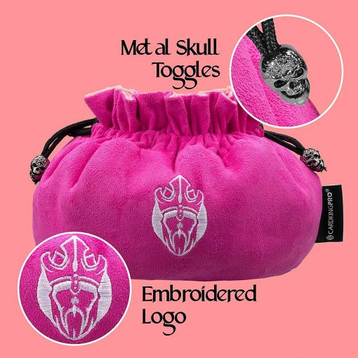 Cardkingpro Immense Dice Bags with Pockets Pink Skull & Embroidered King logo Close Up