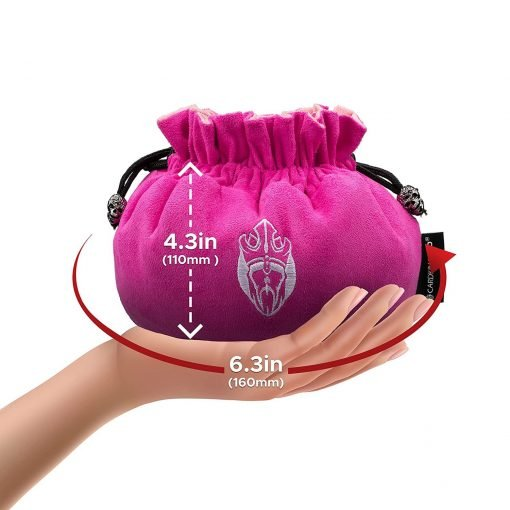 Cardkingpro Immense Dice Bag Pink Hand Holding Size Guide
