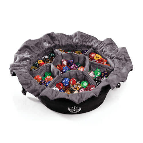 Cardkingpro Immense Dice Bags with Pockets – Black Colored With Grey Inner