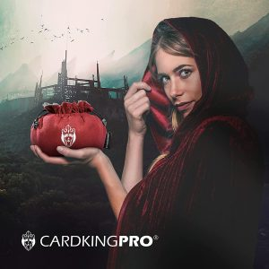 Cloaked lady holding a red Cardkingpro dice bag