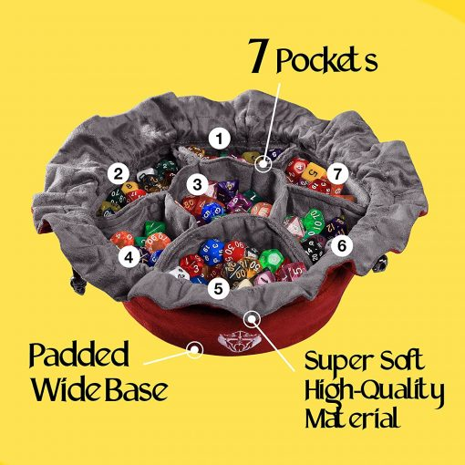Cardkingpro Immense Dice Bags with Seven 7 Pockets Red