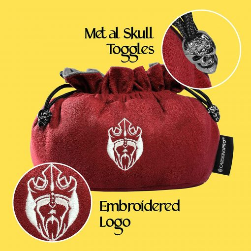 Cardkingpro Immense Dice Bags with Pockets Red Skull & Embroidered King logo Close Up