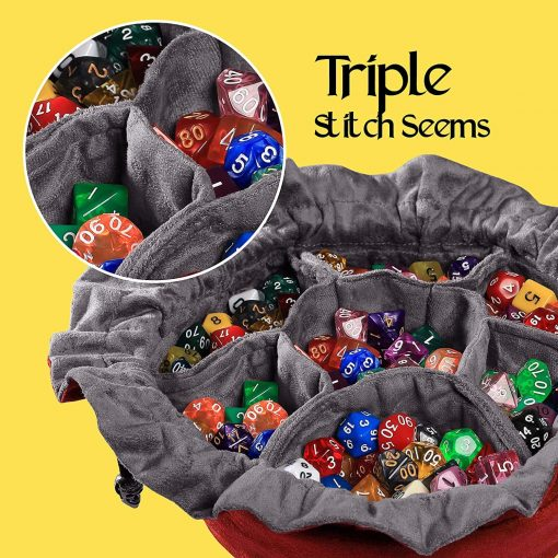 Cardkingpro Immense Dice Bags with Pockets – Red - Showing Dice
