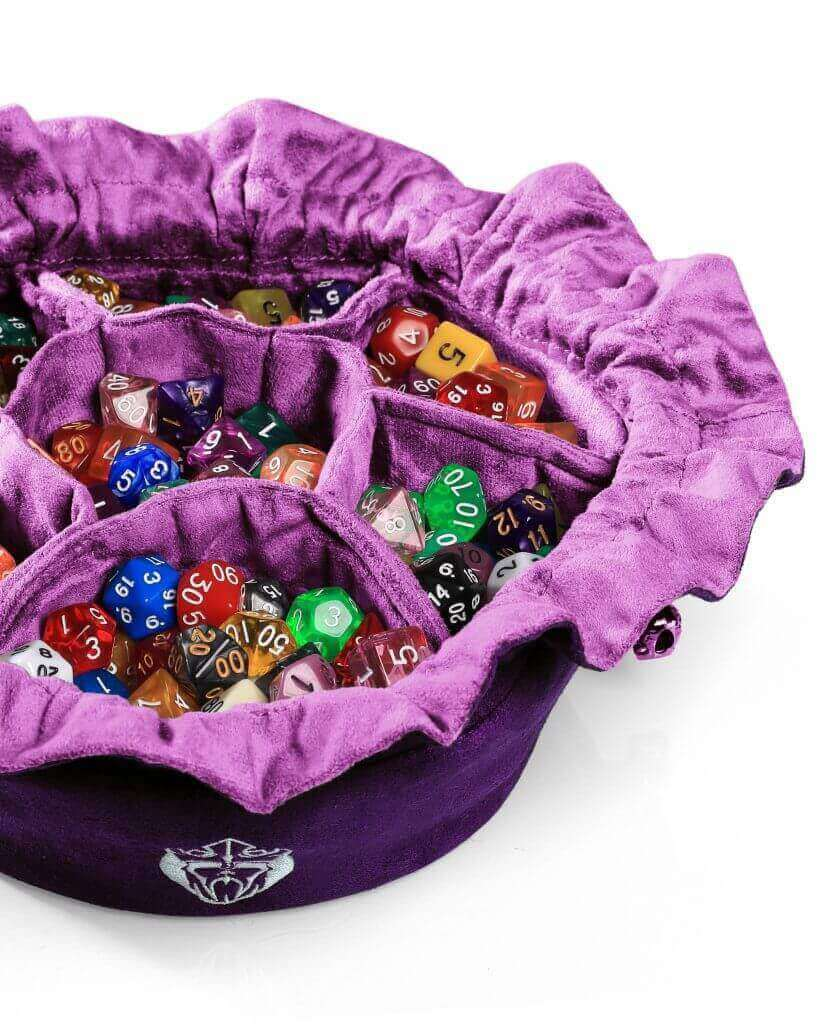 Cardkingpro Immense OCD Dice Bags with Pockets – Purple - Showing Dice