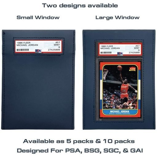 UV Protective Graded Card Sleeve Large or Small Window With Michael Jordan PSA Card