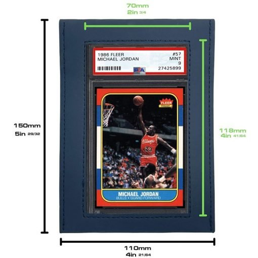 UV Protective Graded Card Sleeve Large Window With Michael Jordan PSA Card Showing Size