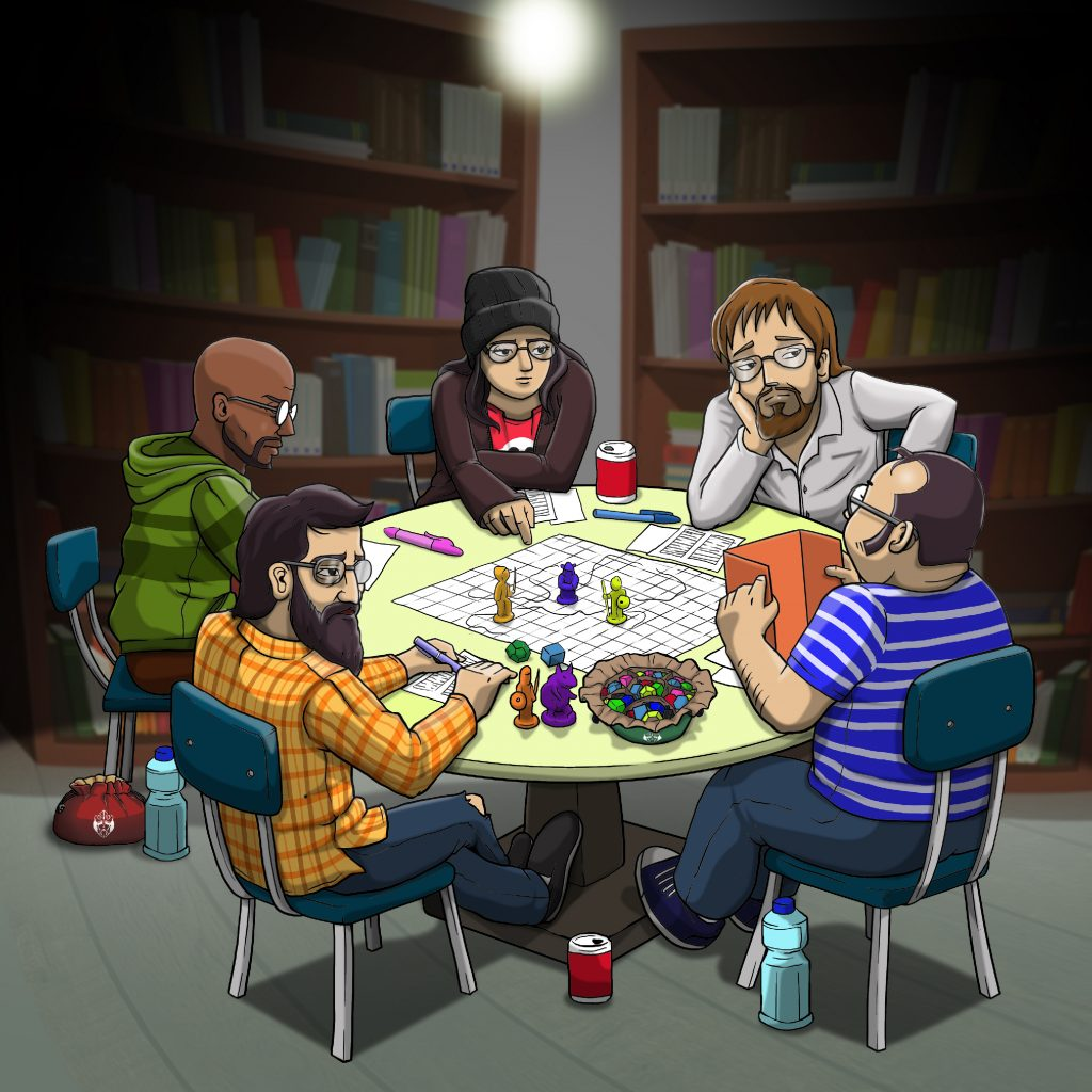 cardkingpro team playing D&D in a dark room under a light