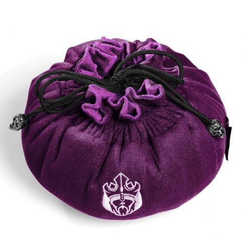 Cardkingpro Immense Dice Bags with Pockets – Purple Colored With Purple Inner - Showing Dice